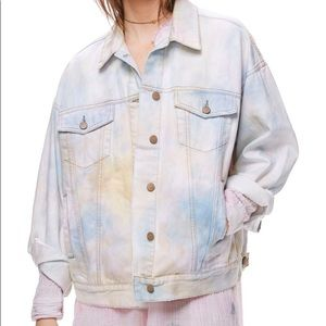 Free people Denim Trucker Tie Dye Jacket NWOT